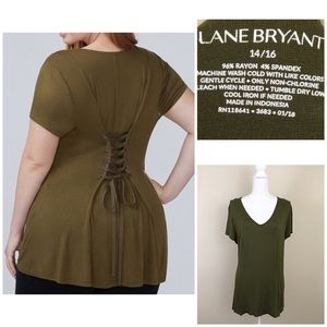 Lane Bryant green lace up corset shirt sz 14/16